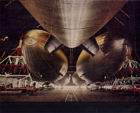 Five ZPG-2N blimps in Hangar #5 Lakehurst Naval Air Station (1955).