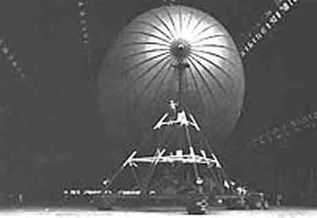 Pulling blimp in to Hangar #5 Lakehurst Naval Air Station (1955).