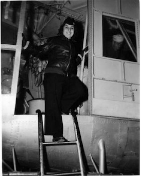 Maryann boarding blimp