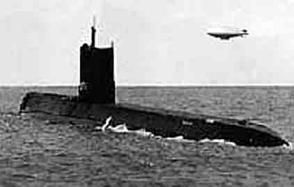 The first atomic powered U.S. submarine: Nautilus.