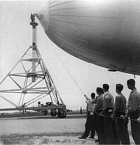 Securing blimp to mast.